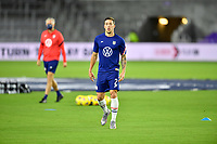 ORLANDO CITY, FL - JANUARY 31: Aaron Herrera of the United States warming up before a game between Trinidad and Tobago and USMNT at Exploria stadium on January 31, 2021 in Orlando City, Florida.