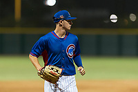 AZL Cubs 2 center fielder Cole Roederer (34) jogs off the field between innings of an Arizona League game against the AZL Indians 2 at Sloan Park on August 2, 2018 in Mesa, Arizona. The AZL Indians 2 defeated the AZL Cubs 2 by a score of 9-8. (Zachary Lucy/Four Seam Images)