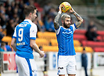 St Johnstone v Motherwell…07.04.18…  McDiarmid Park    SPFL<br />Richie Foster takes a throw in<br />Picture by Graeme Hart. <br />Copyright Perthshire Picture Agency<br />Tel: 01738 623350  Mobile: 07990 594431