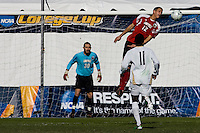 Louisville's Chase Rodgers (12) heads a ball from the box. 2010 NCAA D1 College Cup Championship Final Akron defeated Louisville 1-0 at Harder Stadium on the campus of UCSB in Santa Barbara, California on Sunday December 12, 2010.