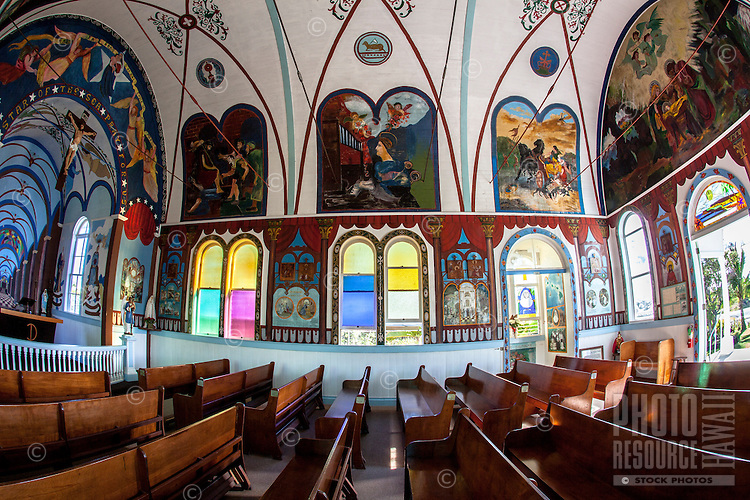 The interior of the Star of the Sea Painted Church in Kalapana, Big Island.