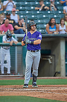 Brian Mundell (13) of the Albuquerque Isotopes at bat against the Salt Lake Bees at Smith's Ballpark on July 25, 2019 in Salt Lake City, Utah. The Bees defeated the Isotopes 8-3. (Stephen Smith/Four Seam Images)