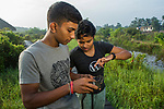 Fishing Cat (Prionailurus viverrinus) biologists, Tharindu Bandara and Anya Ratnayaka, setting up camera traps in urban wetland, Urban Fishing Cat Project, Diyasaru Park, Colombo, Sri Lanka