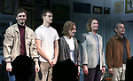 "Michael Cera, Lucas Hedges, Elaine May, Joan Allen and David Cromer during the Opening Night Curtain Call bows for ""The Waverly Gallery"" at the Golden Theatre on October 25, 2018 in New York City."