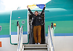 Spanish Point man John Burke flies the saffron and blue on his arrival back to Shannon Airport, following his successful attempt, being the first Clare person ever to climb Mount Everest. Photograph by John Kelly.