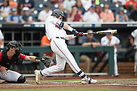 Auburn Tigers outfielder Steven Williams (41) swings the bat during Game 7 of the NCAA College World Series against the Louisville Cardinals on June 18, 2019 at TD Ameritrade Park in Omaha, Nebraska. Louisville defeated Auburn 5-3. (Andrew Woolley/Four Seam Images)