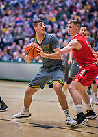 18 February 2018: University of Vermont Forward Payton Henson, a Redshirt Senior from Siloam Springs, AK, in action against the Hartford Hawks at Patrick Gymnasium in Burlington, Vermont. The Catamounts fell to the Hawks 69-68 in their America East Conference matchup. Mandatory Credit: Ed Wolfstein Photo *** RAW (NEF) Image File Available ***