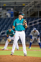 AZL Mariners relief pitcher Cody Mobley (30) looks to his catcher for the sign against the AZL Royals on July 29, 2017 at Peoria Stadium in Peoria, Arizona. AZL Royals defeated the AZL Mariners 11-4. (Zachary Lucy/Four Seam Images)