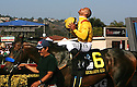 Jockey Mike Smith, atop Richard's Kid, celebrates winning the Pacific Classic at the Del Mar Thoroughbred Club in 2010.  photo for North County Times