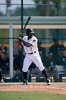 Pittsburgh Pirates Yondry Contreras (7) at bat during an Instructional League game against the New York Yankees on September 28, 2017 at Pirate City in Bradenton, Florida.  (Mike Janes/Four Seam Images)