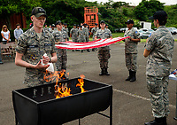 Members of the Civil Air Patrol MER NC 111 Search and rescue Cadet Squadron take part in an official American flag retirement ceremony, held at the Charlotte, North Carolina Squadron.<br /> <br /> Photo by: PatrickSchneiderPhoto.com