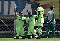 BOGOTÁ -COLOMBIA, 29-04-2018: Hansel Zapata (C) jugador de La Equidad celebra después de anotar un gol a Atlético Nacional durante partido por la fecha 18 de la Liga Águila I 2018 jugado en el estadio Metropolitano de Techo de la ciudad de Bogotá. / Hansel Zapata (C) of La Equidad celebrates after scoring a goal to Atletico Nacional during match for the date 18 of the Aguila League I 2018 played at Metropolitano de Techo stadium in Bogotá city. Photo: VizzorImage/ Gabriel Aponte / Staff