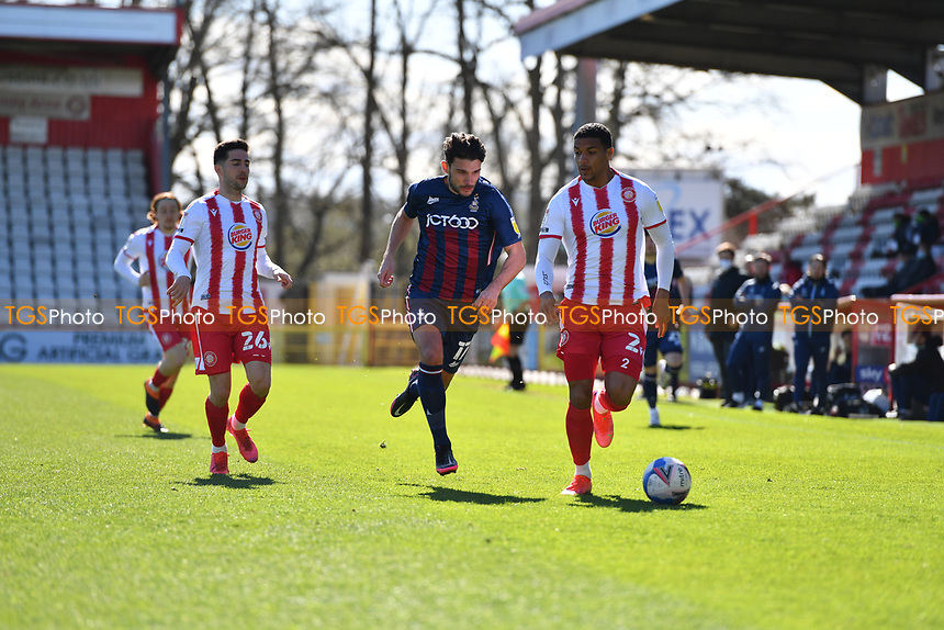 Luther Wildin of Stevenage FC and Gareth Evans of Bradford City AFC during Stevenage vs Bradford City, Sky Bet EFL League 2 Football at the Lamex Stadium on 5th April 2021