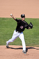 Erie SeaWolves pitcher Slade Smith (43) delivers a pitch during a game against the Akron RubberDucks on May 18, 2014 at Jerry Uht Park in Erie, Pennsylvania.  Akron defeated Erie 2-1.  (Mike Janes/Four Seam Images)