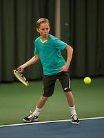Rotterdam, The Netherlands, 07.03.2014. NOJK ,National Indoor Juniors Championships of 2014, Stijn Janssen (NED)  Twan van Zijl (NED)<br /> Photo:Tennisimages/Henk Koster
