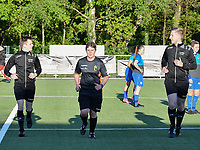 assistant referee Jonas Van Dyck , referee Sylvie Deckers and assistant referee Jiri Bergs warming up before a female soccer game between  Racing Genk Ladies and White Star Woluwe on the 8 th matchday of play off 2 in the 2020 - 2021 season of Belgian Scooore Womens Super League , tuesday 18 th of May 2021  in Genk , Belgium . PHOTO SPORTPIX.BE | SPP | JILL DELSAUX