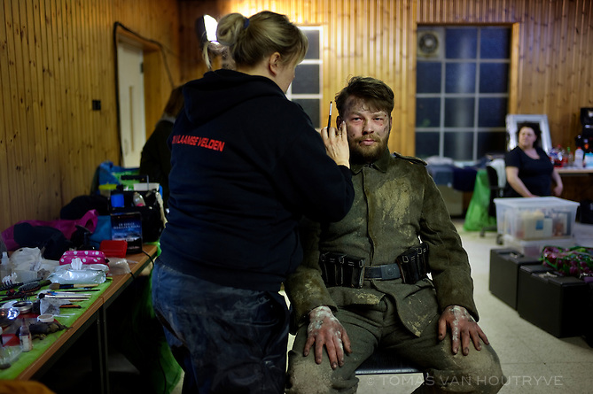 Makeup is applied to an actor during the filming of a TV show called in Vlaamse Velden about WWI in Veurne, Belgium on March 22, 2013.
