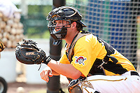 Pittsburgh Pirates catcher Derek Trent #66 during practice before an Instructional League game against the Philadelphia Phillies at Pirate City on October 11, 2011 in Bradenton, Florida.  (Mike Janes/Four Seam Images)