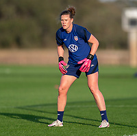ORLANDO, FL - JANUARY 21: Alyssa Naeher #1 of the USWNT looks to the ball during a training session at the practice fields on January 21, 2021 in Orlando, Florida.