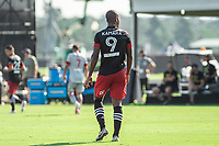 LAKE BUENA VISTA, FL - JULY 13: Ola Kamara #9 of DC United waiting for the ball during a game between D.C. United and Toronto FC at Wide World of Sports on July 13, 2020 in Lake Buena Vista, Florida.