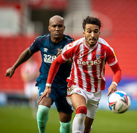 20th March 2021; Bet365 Stadium, Stoke, Staffordshire, England; English Football League Championship Football, Stoke City versus Derby County; Jacob Brown of Stoke City has his eye on the ball