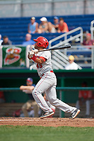 Auburn Doubledays designated hitter Wilmer Perez (45) follows through on a swing during a game against the Batavia Muckdogs on September 1, 2018 at Dwyer Stadium in Batavia, New York.  Auburn defeated Batavia 10-5.  (Mike Janes/Four Seam Images)