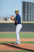 Milwaukee Brewers relief pitcher Brayan Salaya (74) gets ready to deliver a pitch during an Instructional League game against the San Diego Padres at Peoria Sports Complex on September 21, 2018 in Peoria, Arizona. (Zachary Lucy/Four Seam Images)