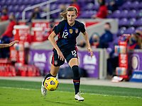 ORLANDO, FL - FEBRUARY 24: Tierna Davidson #12 of the USWNT dribbles during a game between Argentina and USWNT at Exploria Stadium on February 24, 2021 in Orlando, Florida.