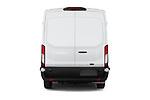Straight rear view of 2021 Ford Transit-Van - 4 Door Cargo Van Rear View  stock images