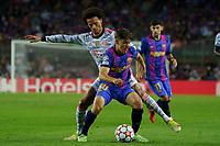 14th September 2021; Nou Camp, Barcelona, Spain; UEFA Champions league, FC Barcelona versus Bayern;   Gavi holds off the chllenge from Sane