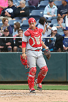 Tyler Sanchez (31) of the Spokane Indians in the field at catcher during a game against the Everett AquaSox at Everett Memorial Stadium on July 24, 2015 in Everett, Washington. Everett defeated Spokane, 8-6. (Larry Goren/Four Seam Images)
