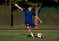 KASHIMA, JAPAN - AUGUST 1: Tobin Heath #7 of the USWNT strikes the ball during a training session at the practice field on August 1, 2021 in Kashima, Japan.