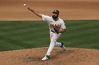OAKLAND, CA - OCTOBER 1:  Lou Trivino #62 of the Oakland Athletics pitches against the Chicago White Sox during Wild Card Round Game Three at the Oakland Coliseum on Thursday, October 1, 2020 in Oakland, California. (Photo by Brad Mangin)