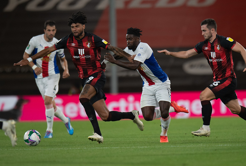 Bournemouth's Philip Billing (left) under pressure from Crystal Palace's Jeffrey Schlupp (right)<br /> <br /> Photographer David Horton/CameraSport<br /> <br /> Carabao Cup Second Round Southern Section - Bournemouth v Crystal Palace - Tuesday 15th September 2020 - Vitality Stadium - Bournemouth<br />  <br /> World Copyright © 2020 CameraSport. All rights reserved. 43 Linden Ave. Countesthorpe. Leicester. England. LE8 5PG - Tel: +44 (0) 116 277 4147 - admin@camerasport.com - www.camerasport.com