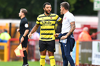 Stevenage FC Manager Alex Revell and Troy Deeney of Watford FC during Stevenage vs Watford, Friendly Match Football at the Lamex Stadium on 27th July 2021