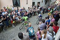Moreno Moser (ITA/Cannondale) & Gianluca Brambilla (ITA/Etixx-Quixkstep) fighting it out on the last ascent of the very steep (20%) cobbled Via Principi d'Acaja<br /> <br /> stage 18: Muggio - Pinerolo (240km)<br /> 99th Giro d'Italia 2016