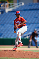 Philadelphia Phillies pitcher Robinson Martinez (64) delivers a pitch during a Florida Instructional League game against the Toronto Blue Jays on September 24, 2018 at Spectrum Field in Clearwater, Florida.  (Mike Janes/Four Seam Images)