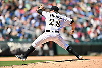 Charlotte Knights starting pitcher Carson Fulmer (28) delivers a pitch during a game against the  Gwinnett Braves at BB&T Ballpark on May 7, 2017 in Charlotte, North Carolina. The Knights defeated the Braves 7-1. (Tony Farlow/Four Seam Images)