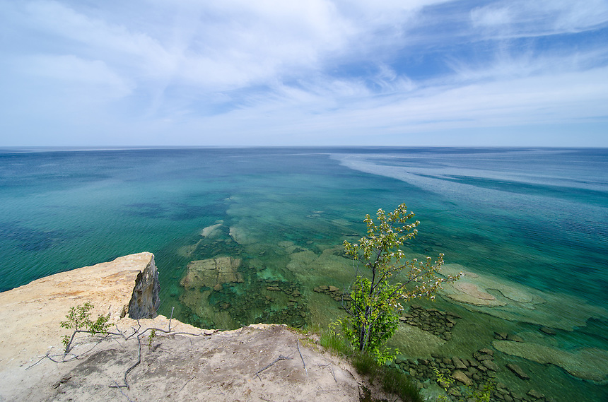A view of Lake Superior from the cliffs of Pictured Rocks National Lakeshore. Munising, MI