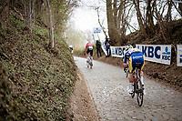 Cedric Beullens (BEL/Sport Vlaanderen - Baloise) up the infamous Koppenberg<br /> <br /> 105th Ronde van Vlaanderen 2021 (MEN1.UWT)<br /> <br /> 1 day race from Antwerp to Oudenaarde (BEL/264km) <br /> <br /> ©kramon