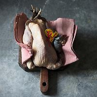 France, Pas-de-Calais (62), Licques: volailles fermières Label Rouge de Licques - Pintade de Licques  // France, Pas de Calais, Licques: Label Rouge poultry Licques - guinea fowl - Stylisme : Valérie LHOMME