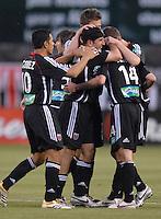 2006 MLS Regular Season Match at RFK Stadium, Christian Gomez joins teammates Alecko Eskandarian, Ben Olsen, Bobby Boswell, Josh Gros and Facundo Erpen to celebrate Olsen's goal, final score DC United 1, FC Dallas 1, Saturday, April 29.