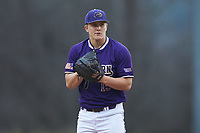 Western Carolina Catamounts starting pitcher Zebby Matthews (15) looks to his catcher for the sign against the St. John's Red Storm at Childress Field on March 12, 2021 in Cullowhee, North Carolina. (Brian Westerholt/Four Seam Images)