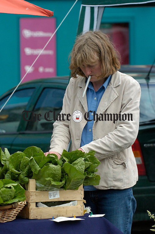 Marese Tuohy busy at the stall during the Ennis Farmers Market. Photograph by John Kelly.