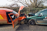 Road traffic accident involving a post office van and a commercially owned van..©shoutpictures.com..john@shoutpictures.com