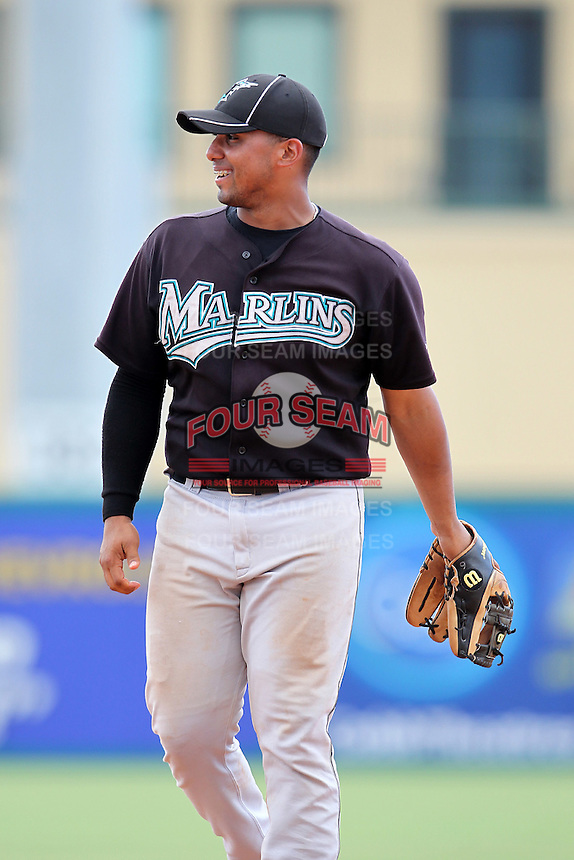 Third baseman Jobduan Morales #16 of the Florida Marlins instructional League team during a game against the Italian National Team at the Roger Dean Stadium in Jupiter, Florida;  September 27, 2011.  Italy is training in Florida for the Baseball World Cup.  (Mike Janes/Four Seam Images)