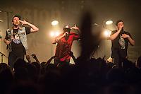 Die Hip-Hop-Gruppe Antilopen Gang aus Duesseldorf, Koeln und Berlin spielte am Samstag den 14. Maerz 2015 im ausverkauften Berliner Club SO36.<br /> Die Band besteht aus den Rappern Koljah Kolerikah (mitte), Panik Panzer (rechts) und Danger Dan (links) und steht beim Toten Hosen-Label JKP unter Vertrag.<br /> 14.3.2015, Berlin<br /> Copyright: Christian-Ditsch.de<br /> [Inhaltsveraendernde Manipulation des Fotos nur nach ausdruecklicher Genehmigung des Fotografen. Vereinbarungen ueber Abtretung von Persoenlichkeitsrechten/Model Release der abgebildeten Person/Personen liegen nicht vor. NO MODEL RELEASE! Nur fuer Redaktionelle Zwecke. Don't publish without copyright Christian-Ditsch.de, Veroeffentlichung nur mit Fotografennennung, sowie gegen Honorar, MwSt. und Beleg. Konto: I N G - D i B a, IBAN DE58500105175400192269, BIC INGDDEFFXXX, Kontakt: post@christian-ditsch.de<br /> Bei der Bearbeitung der Dateiinformationen darf die Urheberkennzeichnung in den EXIF- und  IPTC-Daten nicht entfernt werden, diese sind in digitalen Medien nach §95c UrhG rechtlich geschuetzt. Der Urhebervermerk wird gemaess §13 UrhG verlangt.]