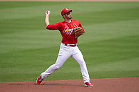 St. Louis Cardinals third baseman Nolan Arenado (28) throws to first base during a Major League Spring Training game against the Houston Astros on March 20, 2021 at Roger Dean Stadium in Jupiter, Florida.  (Mike Janes/Four Seam Images)