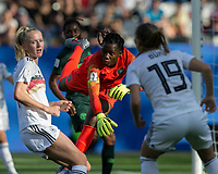 GRENOBLE, FRANCE - JUNE 22: Chiamaka Nnadozie #16 of the Nigerian National Team punches out a cross during a game between Panama and Guyana at Stade des Alpes on June 22, 2019 in Grenoble, France.