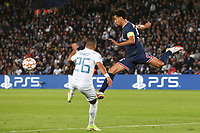 28th September 2021, Parc des Princes, Paris, France: Champions league football, Paris-Saint-Germain versus Manchester City:  Marquinhos (PSG) wins the ball from Riyad Mahrez (Manchester City)